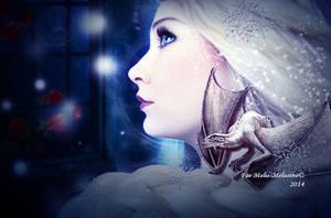 Queen Elsa with a little Dragon by MelFeanen