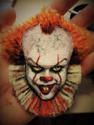 Pennywise felt painted brooch by Oceansoul7777