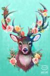 Deer of Spring - Pop Art collection - Original Art by Ruby--Art