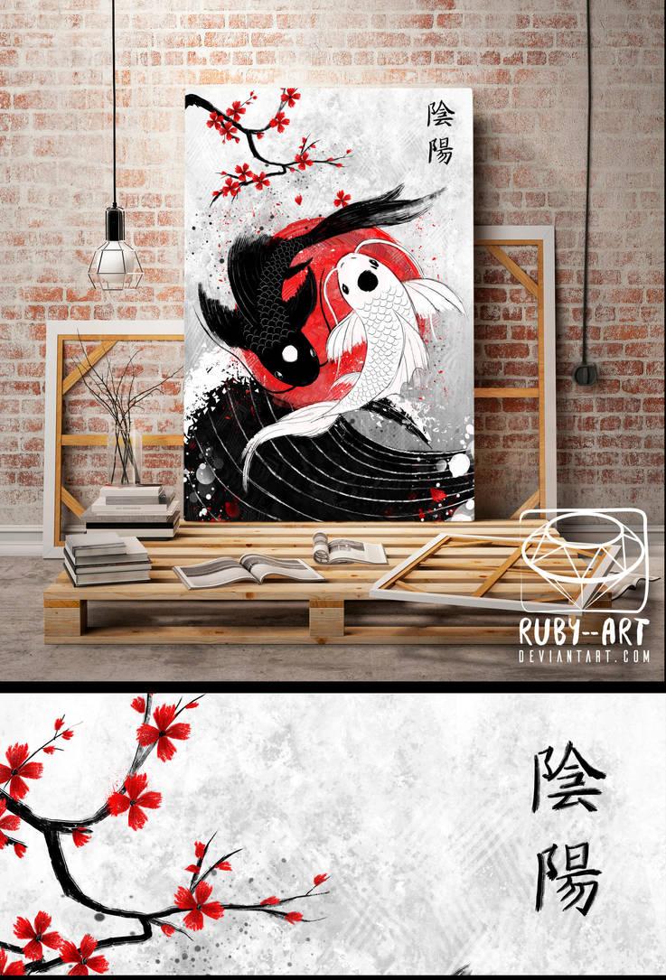 Yin and Yang Koi Fish - Original Art by Ruby--Art