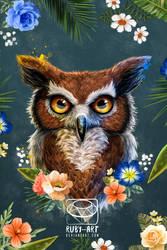 Owl of Spring - Original Art by Ruby--Art