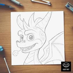 Spyro fanart Sketch by Ruby--Art