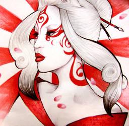 Sun Goddess Amaterasu by pinkbutterflyofdeath