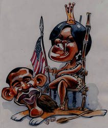 Barack and Michelle Obama by royalcartoons