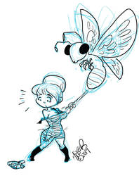 Rita Redshirt and the Space Moth (sketch) by Gamecreature