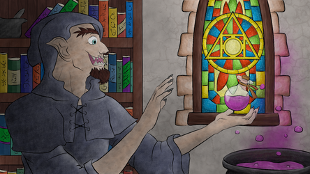 A Hobgoblin Alchemist with a Holy Symbol - Colours by Zapphyre