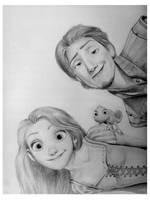 Rapunzel, Flynn and Pascal by SweetLitz