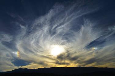Feathery Glowing Sunset w/Sun Dogs - Reno, NV by SketchkeysDigital
