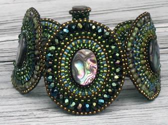 Abalone and Green Bracelet by MyFairLadyVT4