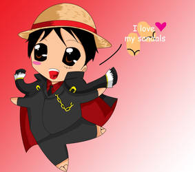 luffy loves his sandals by stephainestarfire
