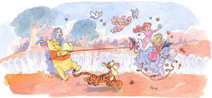 winnie the pooh and princesses by migouze
