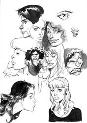 women face in ink by migouze