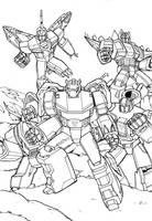 Transformers generation 1 Dinobots inks by grim1978