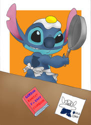 Stitch Frying An Egg by CoolDoggie
