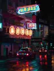 Hong Kong Rainy Night Study (Day 40/365) by JamesExcalibur