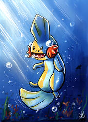 Underwater Mudkip with some corals and seaweed by Lugiame