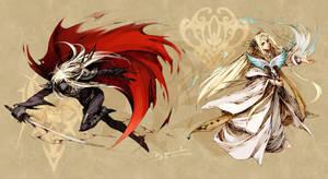 Elf and Dark Elf by Sylleinseriin