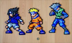 Kakashi, Sasuke + Naruto Bead Sprites by Aenea-Jones