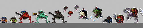 Project PAPERBLADE: Monsters lineup 1-1 by G-for-Galdelico