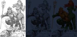 Aquaman_Mera_marcio WIP 01 by knytcrawlr