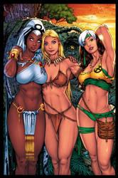 Storm  Shanna  And Rogue   Savage Land   XGX by knytcrawlr