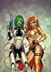 gamora and angela by leomatos2014-d9fpim2 XGX by knytcrawlr
