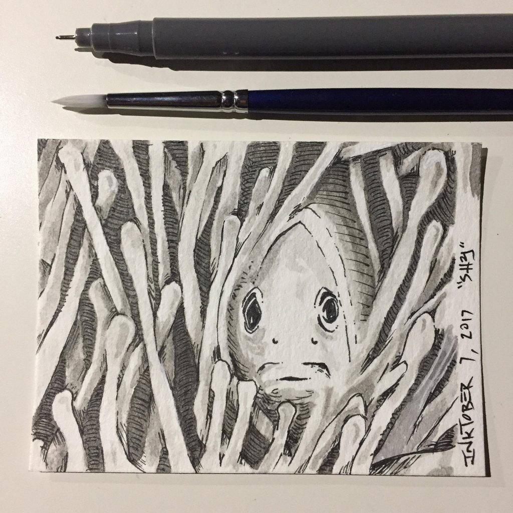 Inktober 7, 2017 'Shy' by vertseven
