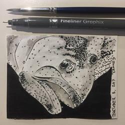 Inktober 8, 2017 'Crooked' by vertseven