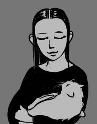 Melitta and her cat by Devilry