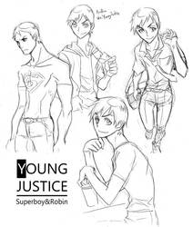 Young Justice-SuperboyRobin by eguana
