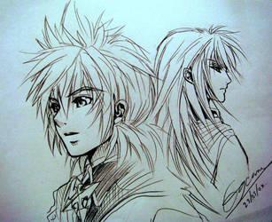 Roxas and Riku by eguana