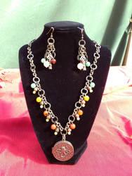 Kraken locket necklace and matching Key earrings by Leo9