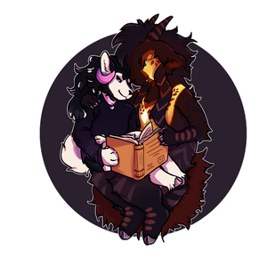 Book cuddles - Chibi Commission by FrostedWatercolor