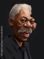 Morgan Freeman caricature painting by crazedude