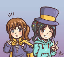 Hat Kid and Vanellope by Thaumana