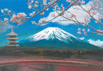 Looking at Mount Fuji through the branches of... by MirielVinya