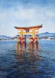 Torii of Itsukushima Shrine by MirielVinya