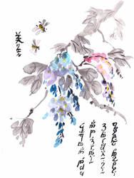 Chinese wisteria, Inktober 7-2017 by MirielVinya