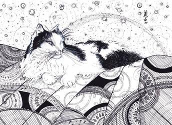 Hvitfoss White Waterfall The Cat, Inktober 6-2017 by MirielVinya