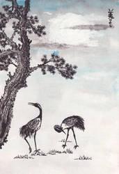Pine tree and cranes, Inktober 9-2017 by MirielVinya