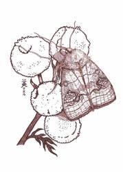 A moth and tansy, Inktober 13-2017 by MirielVinya