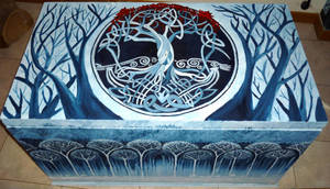 Painted chest (Secret of Kells) finished :) by WormholePaintings