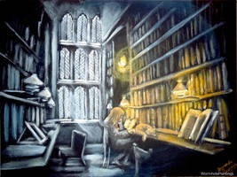 Hermione studying in the Hogwarts Library by WormholePaintings
