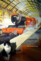 Hogwarts Express mural..and Horatio :) by WormholePaintings
