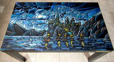 First night at Hogwarts... (coffee table) :) by WormholePaintings