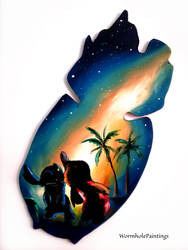 Lilo and Stitch silhouette by WormholePaintings