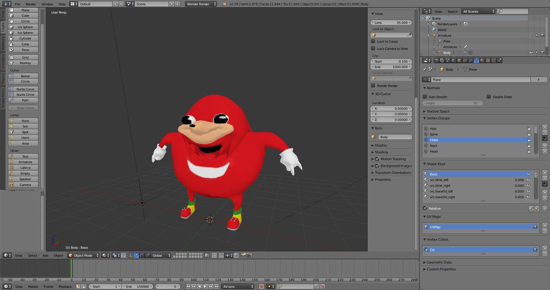 The Knuckles meme as a 3d model by tidiestflyer
