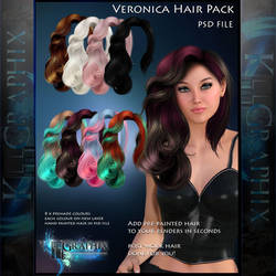 Veronica Painted Instant Hair PSD 8 x hair stock by MakeMeMagical