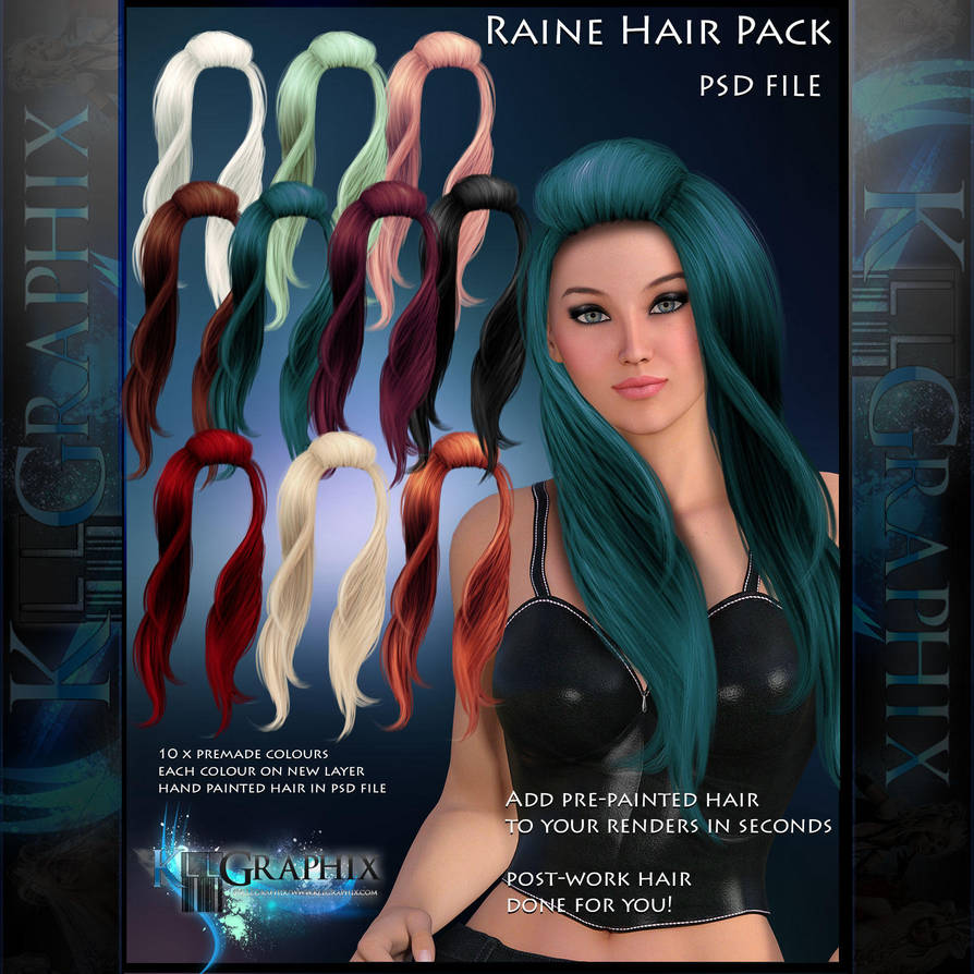 Raine Painted Instant Hair PSD add on hair stock by MakeMeMagical