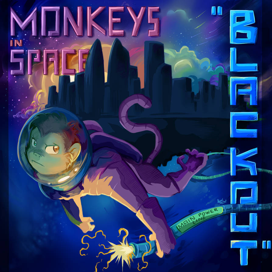 Monkeys In Space - BlackOut - Cover Art by amorias